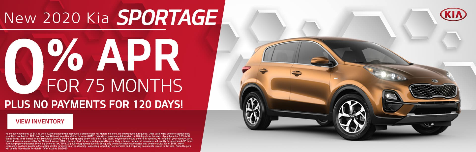 New 2020 Kia Sportage | 0% APR For 75 Months Plus No Payments For 120 Days!