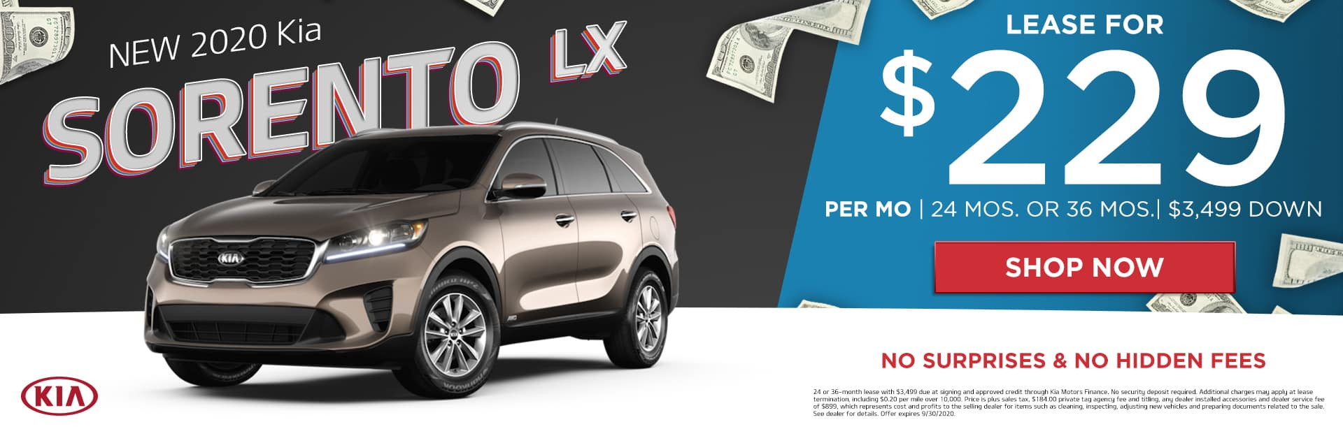 New 2020 Kia Sorento LX | Lease For $229 Per Month | 24 Months or 36 Months | $3,499 Down | No Surprises & No Hidden Fees