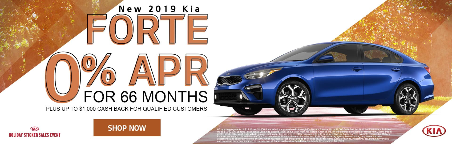 New 2019 Kia Forte | 0% APR For 66 Months Plus Up To $1,000 Cash Back For Qualified Customers