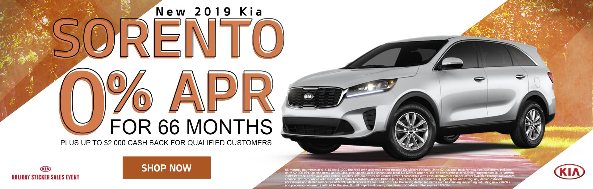 New 2019 Kia Sorento | 0% APR For 66 Months Plus Up To $2,000 Cash Back For Qualified Customers