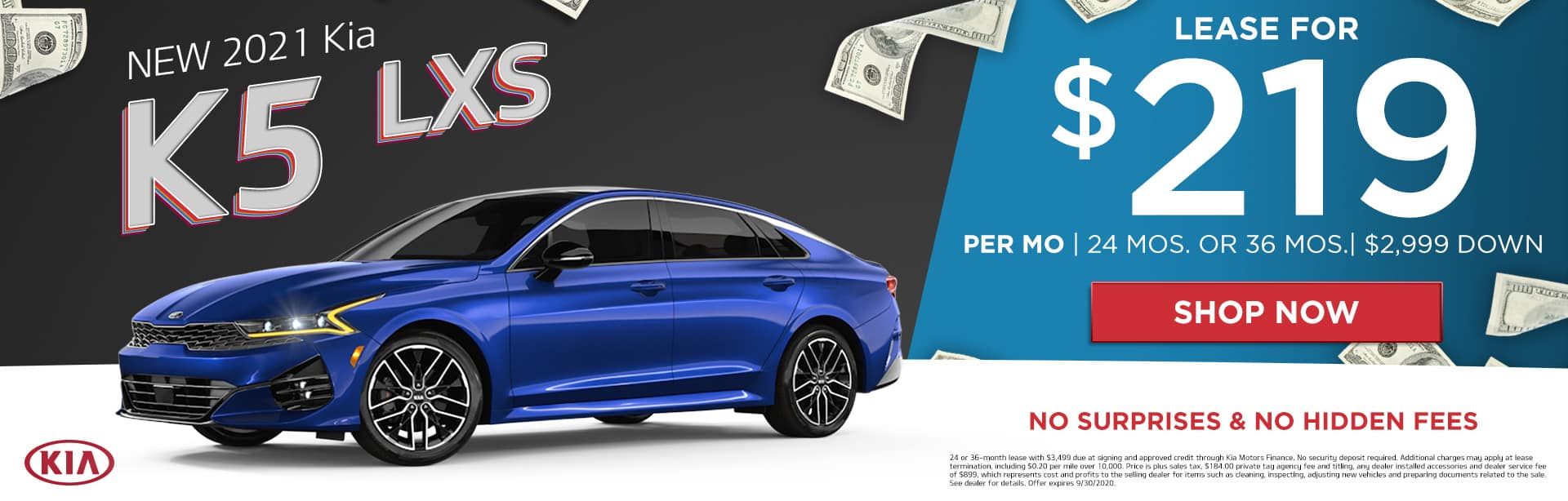 New 2021 Kia K5 LXS | Lease For $219 Per Month | 24 Months or 36 Months | $2,999 Down | No Surprises & No Hidden Fees