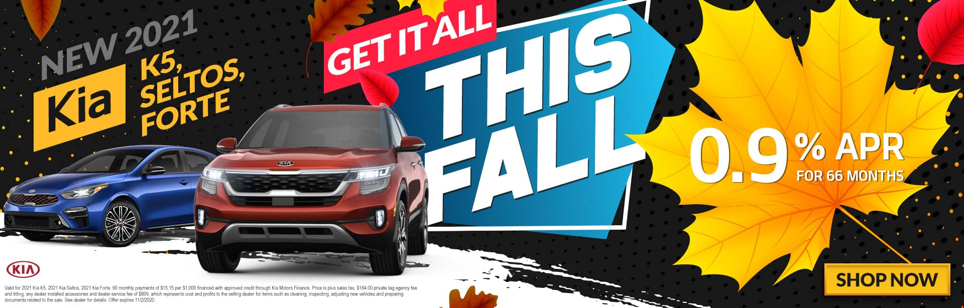 New 2021 Kia K5, Seltos, Forte   Get It All This Fall   0.9% APR For 66 Months