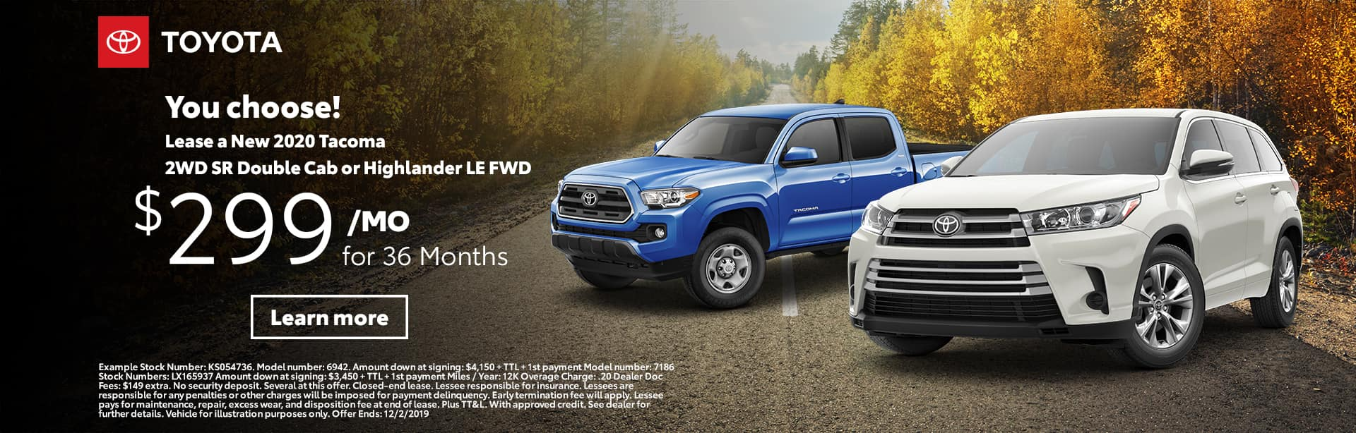 2020 Tacoma 2WD SR Double Cab or Highlander LE FWD | Sterling McCall Toyota