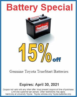 Battery special at University Toyota