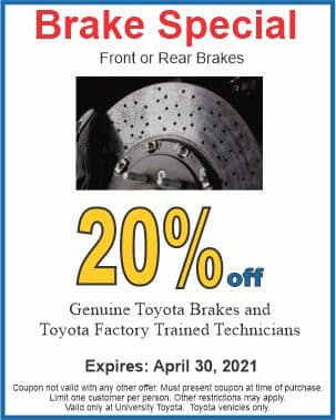 Brake special at University Toyota