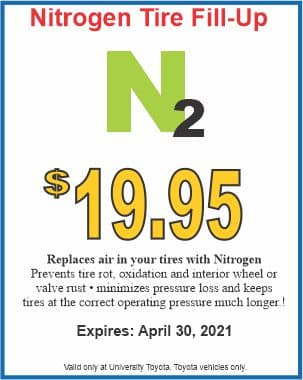 Nitrogen Tire Fill Up Special at University Toyota