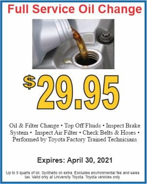 Full service oil change Special at University Toyota