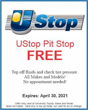The UStop Pit Stop Free at University Toyota