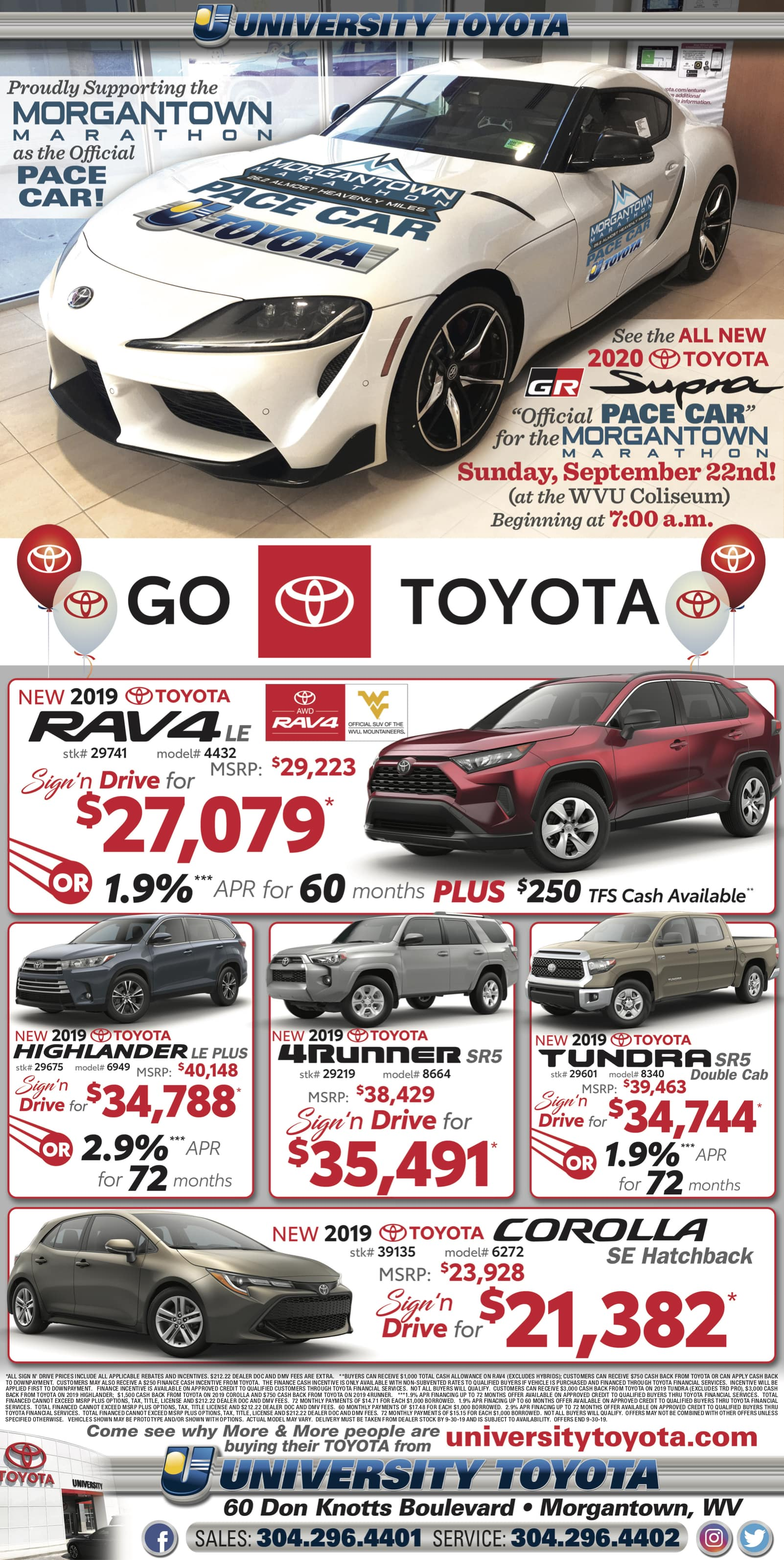 September advertisement for University Toyota