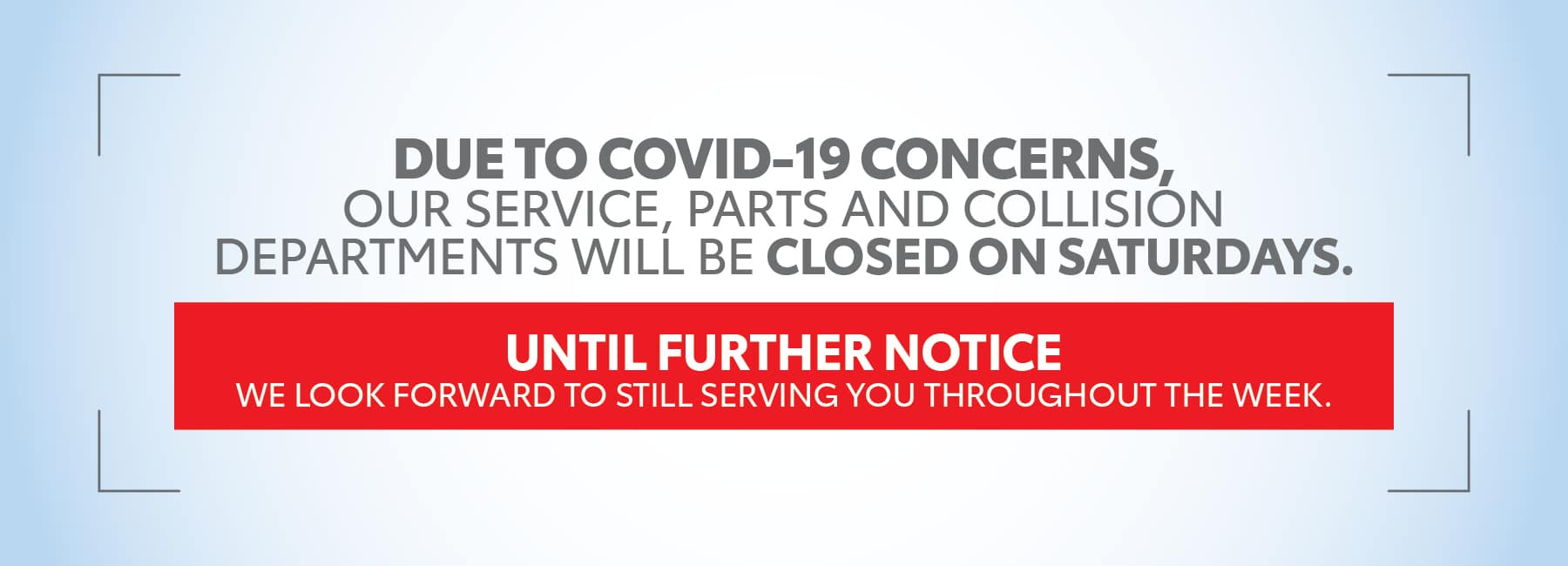 service closure banner
