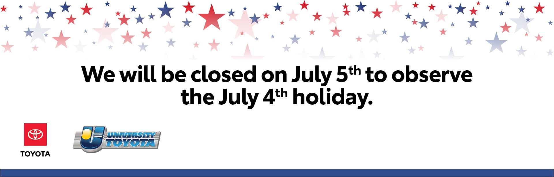 Closed July 5th