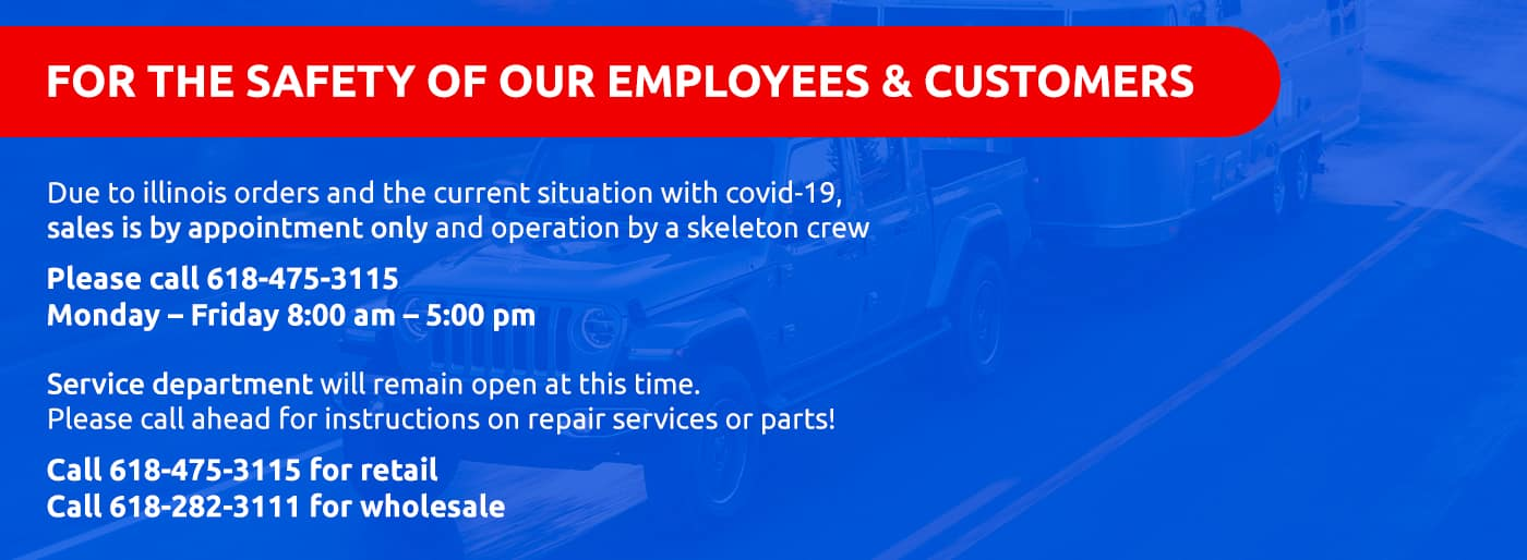 Due to COVID-19 Sales is appointment only, service dept remains open